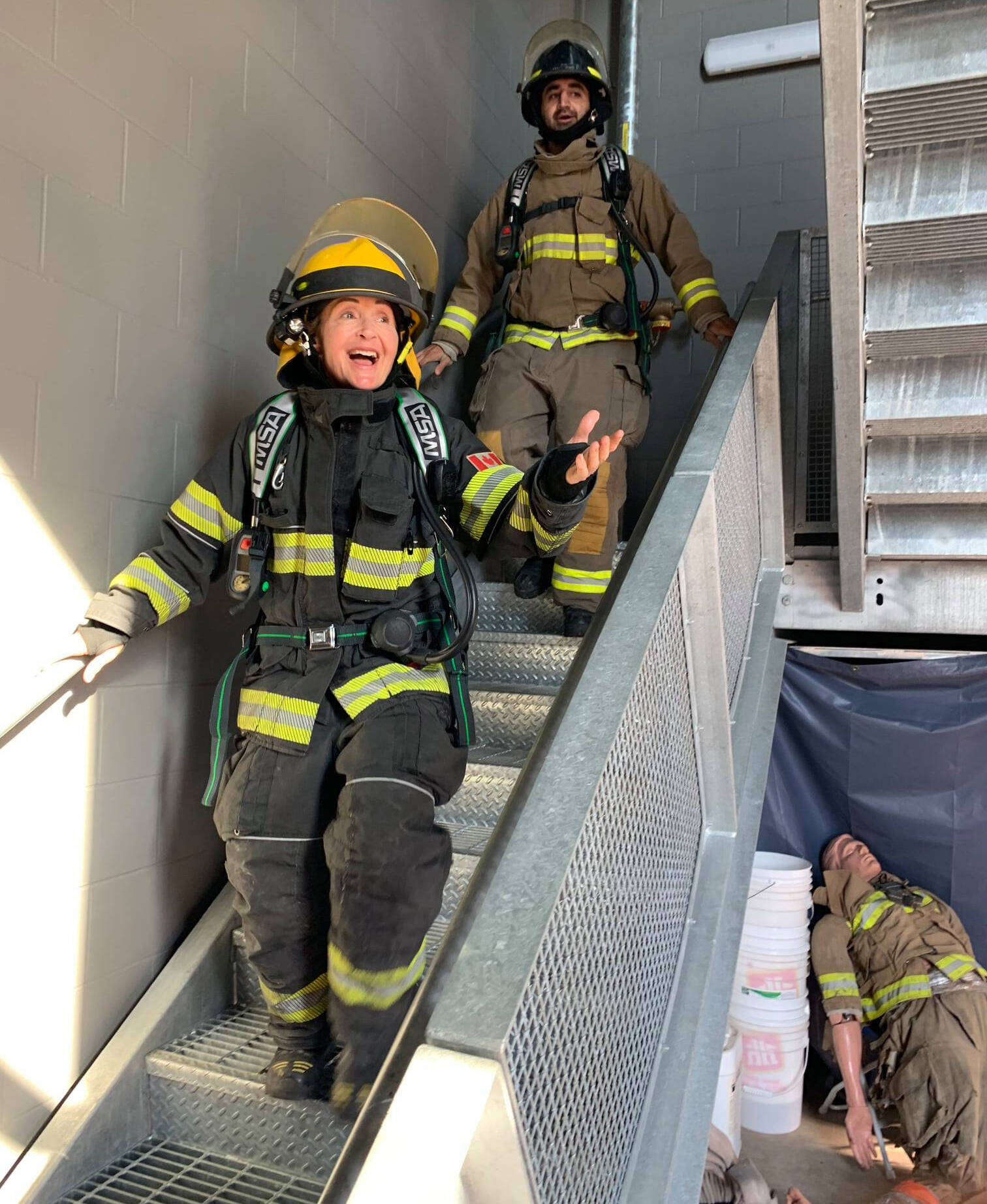 Osoyoos firefighters Barb and Gurvir Gill participated in the 9/11 stair climb today to honour the victims of 9/11 20 years ago. (Osoyoos Fire Rescue)
